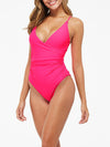 Plain Ruched High Cut One Piece Swimwear