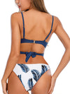 Cross Ruched Underwire Top With Palm Leaf Floral Printed Bikini Set