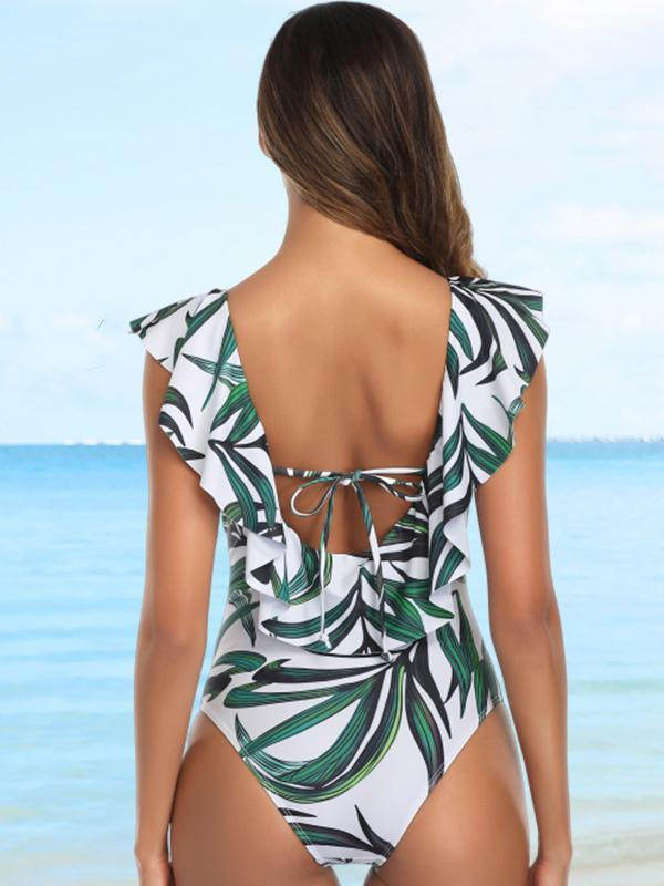 Tropical V-Neck Ruffle One Piece Swimsuit Bathing Suit Monokini