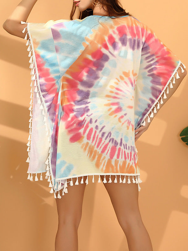 Tie Dye Batwing Sleeve Tasseled Hem Mini Dress