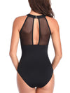 (US Stock & Local Delivery) High Neck Plunge Mesh Ruched Monokini One Piece Swimsuit