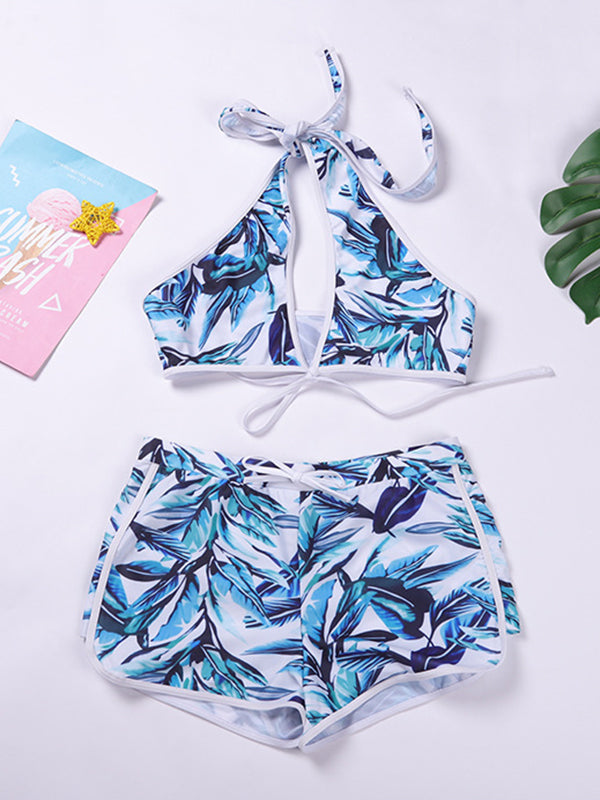 Three Pieces Leaves Printed Knot Halter Bikini Set With Shorts