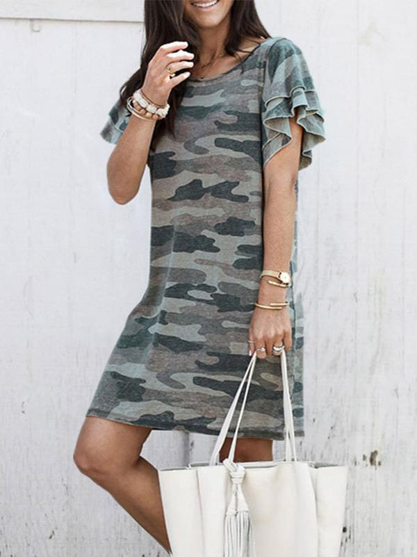 Camouflage Printed Round Neck Short Sleeve Loose Mini Dress