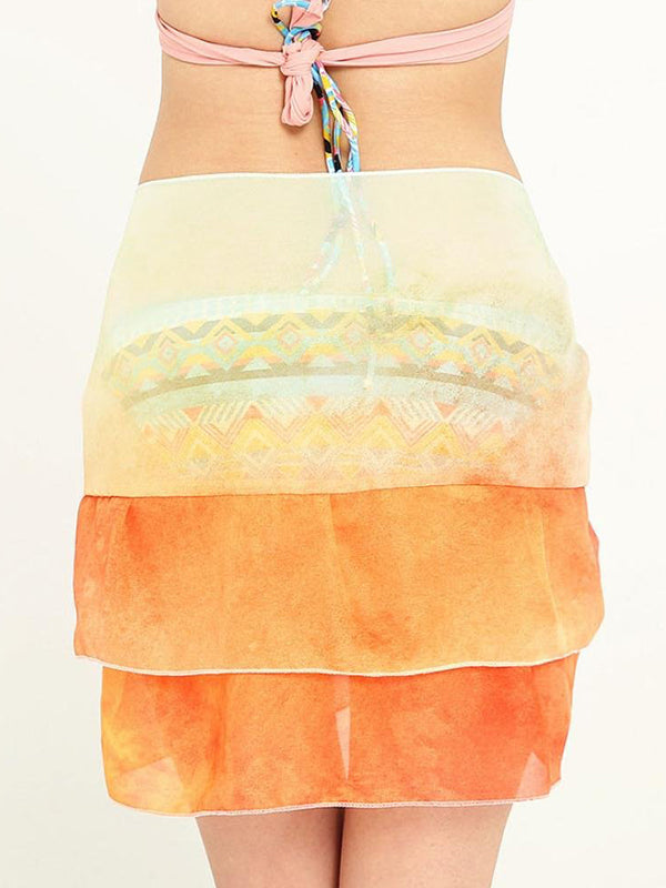 Chiffon Ruffled Bikini Cover Up Beach Holiday Wrap Short Skirt