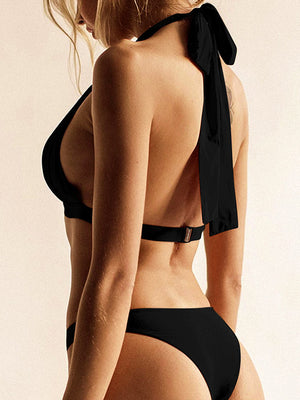 Ruched Knot Tie Back Top With High Cut Low Waist Bikini Set