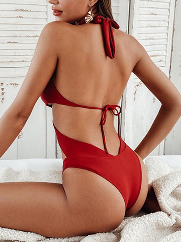 Solid Knot Criss Cross Lace Up Tie Back One Piece Swimwear