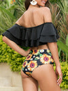 Plain Off Shoulder Ruffles Top With Sunflower High Waist Bikini Set