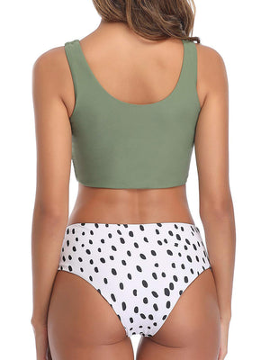 (US Stock & Local Delivery) Knot Hem Top With Dalmation Print Bikini Set