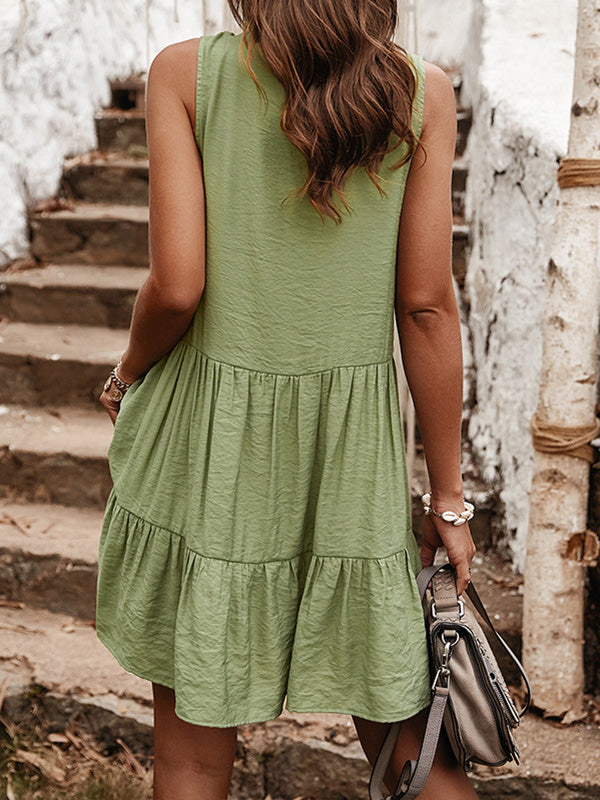 Bohemian Style Plain Tasseled Sleeveless A-line Mini Dress