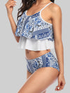 Printed Two Layer Flounced Top With Natural Bikini Set