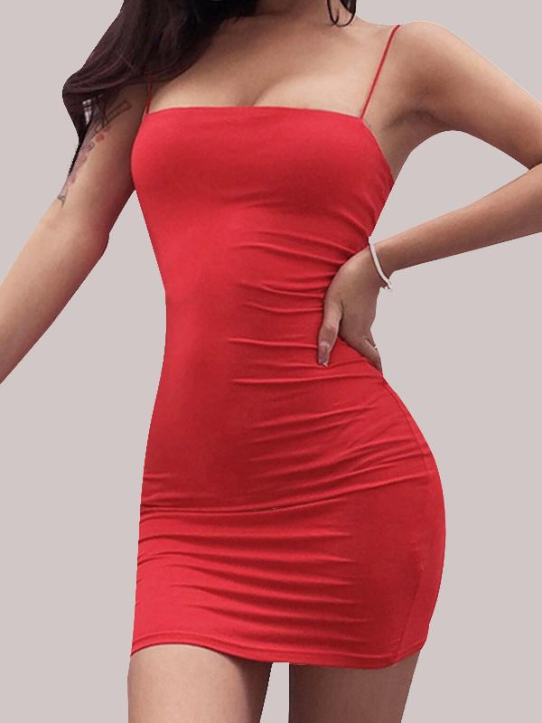 Sexy Solid Sleeveless Spaghetti Strap Mini Dress