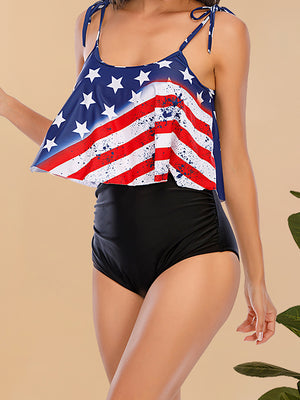 Flag Printed Knot Scoop Neck Flounced Top With Plain High Waist Bikini Set