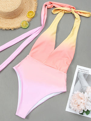 Gradual Change Criss Cross Knot One Piece Swimwear