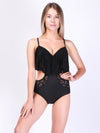Lace Ruffles Cut Out Strappy One Piece Swimwear