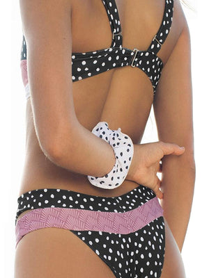 Color Block Polka Dots Floral Printed Top With Cut Out Low Waist Bikini Set