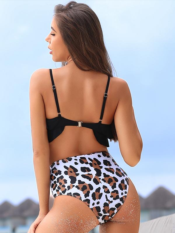 Ruffle Hem Top With Leopard Printed High Waist Bikini Sets
