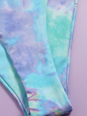Tie Dye Gradient Top With Ruched High cut Bikini Set