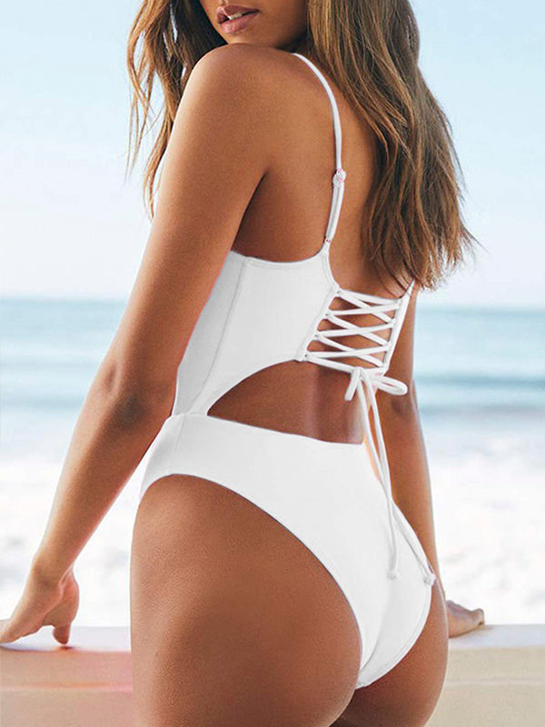 Cut Out Criss Cross Strappy One Piece Swimwear