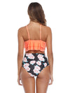 Plant Printed Ruffle Top With High Waist Bikini Set
