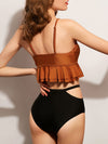 Ruched Ruffled Top With Cut Out High Waist Bikini Set