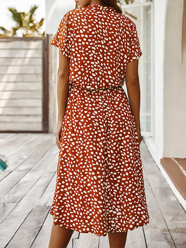Polka Dots Stand Collar Short Sleeve Dress