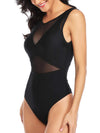 (US Stock & Local Delivery) High Neck Plunge Contrast Mesh One Piece Swimwear