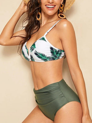 Leaves Printed Top With High Waist Bikini Set