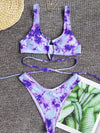 Tie Dye Criss Cross Tie Back Top With High Cut Bikini Set