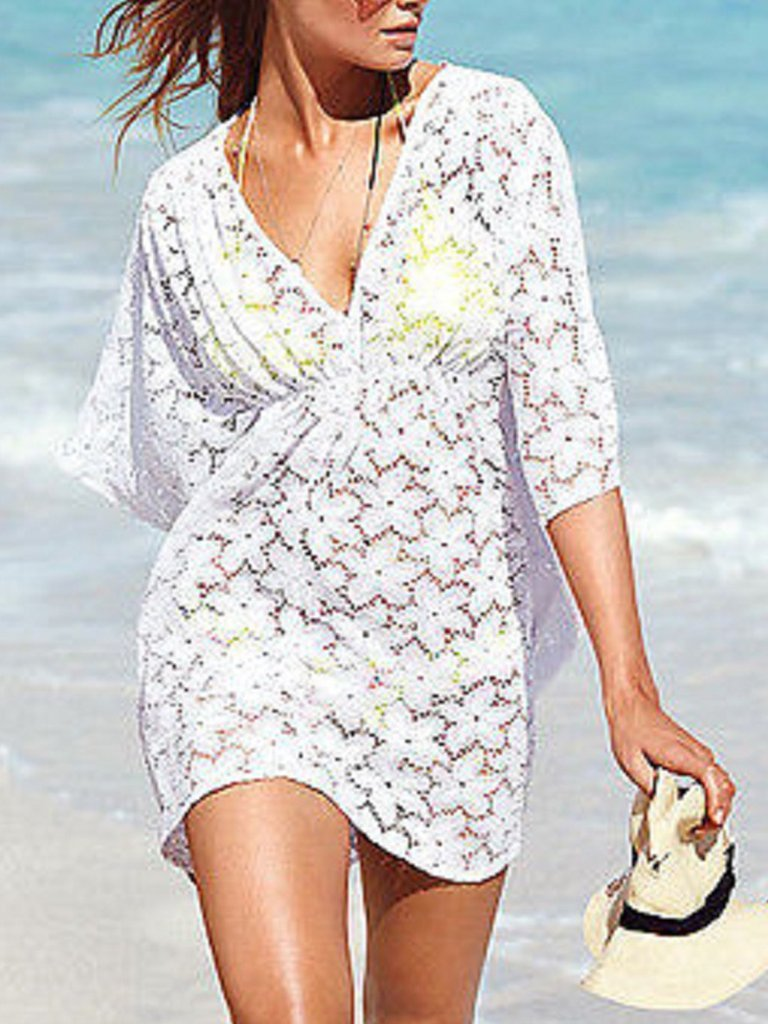 Solid Wrap 3/4 Sleeves Beachwear Mini Dress