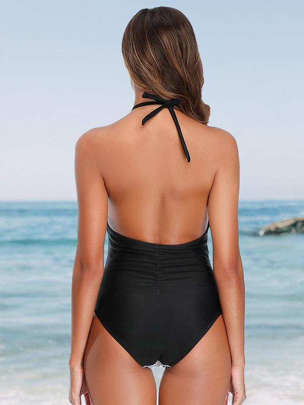 Halter Neck Backless Stripe Patchwork Tummy Control One Piece Swimsuit