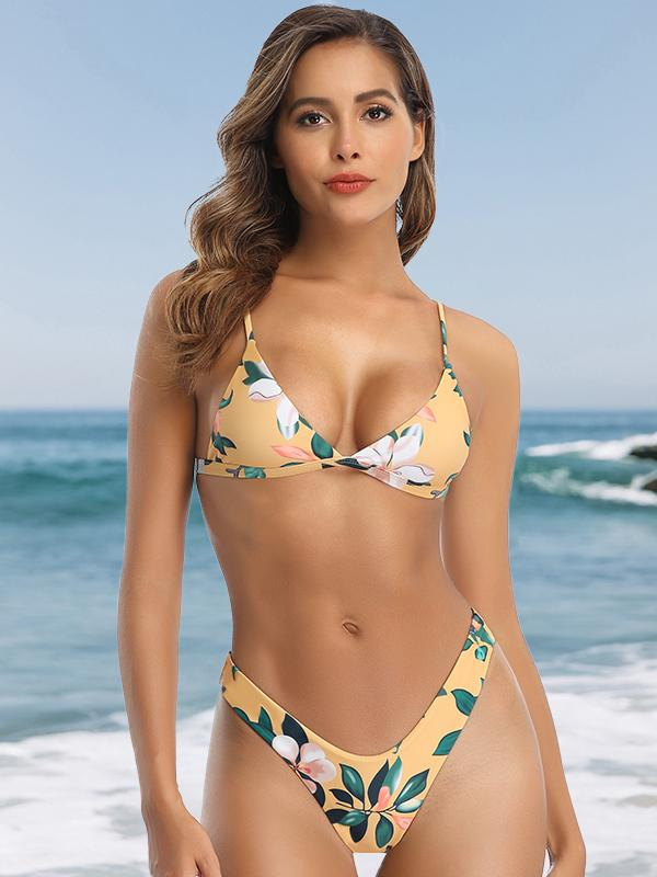 (US Stock & Local Delivery) Leaf Print High Leg Bikini Set
