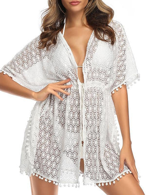 (US Stock & Local Delivery) Lace Pompom Tassel Bikini Beachwear Kimono Beach Cover Ups