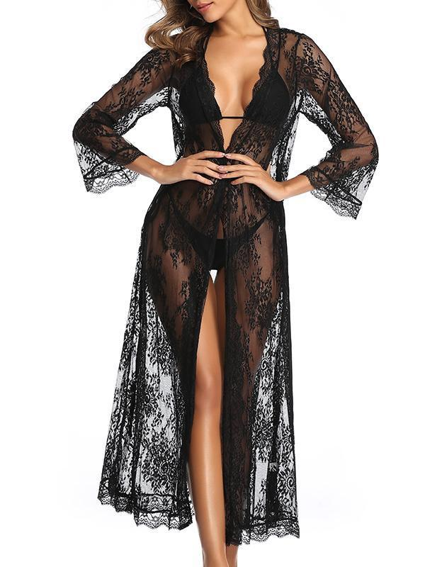 (US Stock & Local Delivery) Sheer Belted Lace Kimono