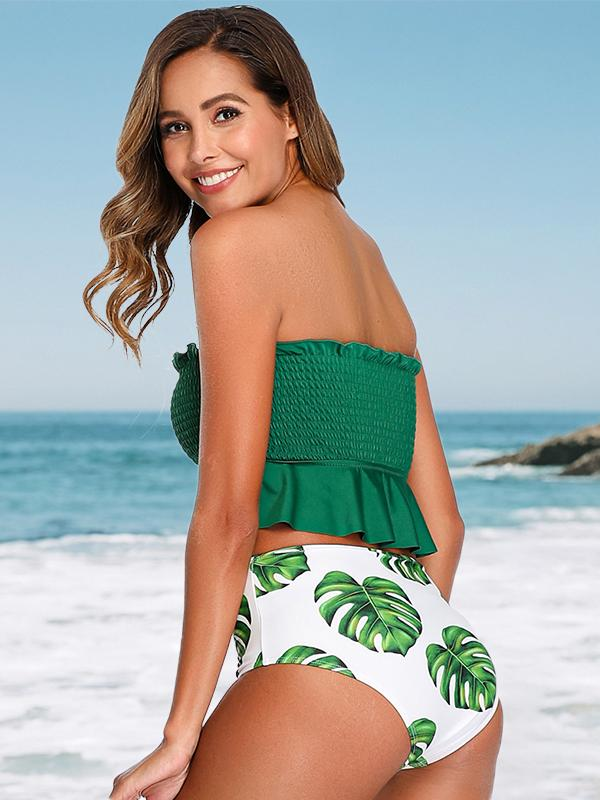 Smocked Bandeau Top With Tropical High Waist Bikini Set