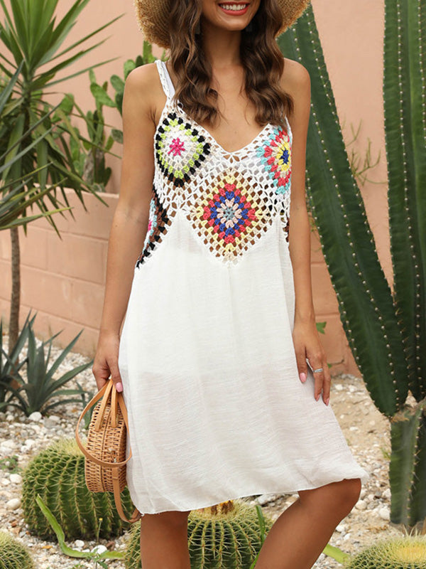 Knitted Crochet Hollow Out Sleeveless Midi Cover Up