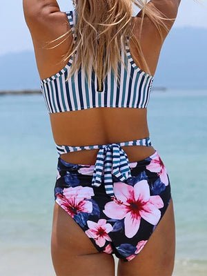 Striped Cut Out Zipper Back One Piece Swimwear
