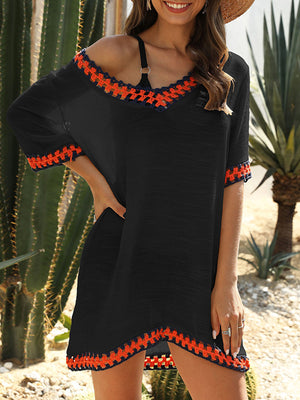 Hollow Out Knitting Short Sleeve V Neck Cover Up
