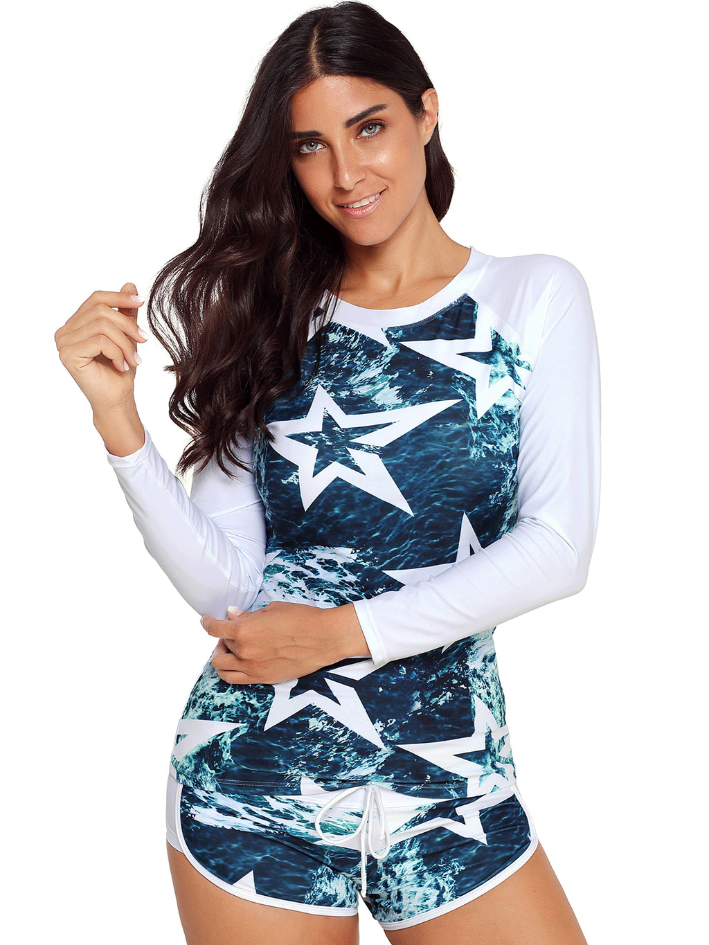 Long Sleeve Stars Printed Tankini Set