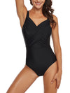 Mesh Cut Out Criss Cross One Piece Swimwear