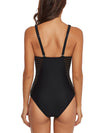 Ruched Criss Cross Mesh One Piece Swimwear