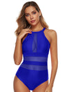 Plain Mesh Stitching One Piece Swimwear