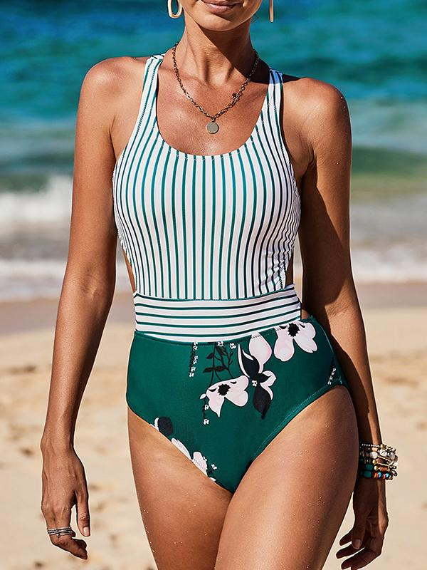 Floral & Stripe Print Zipper Back One Piece Swimsuit