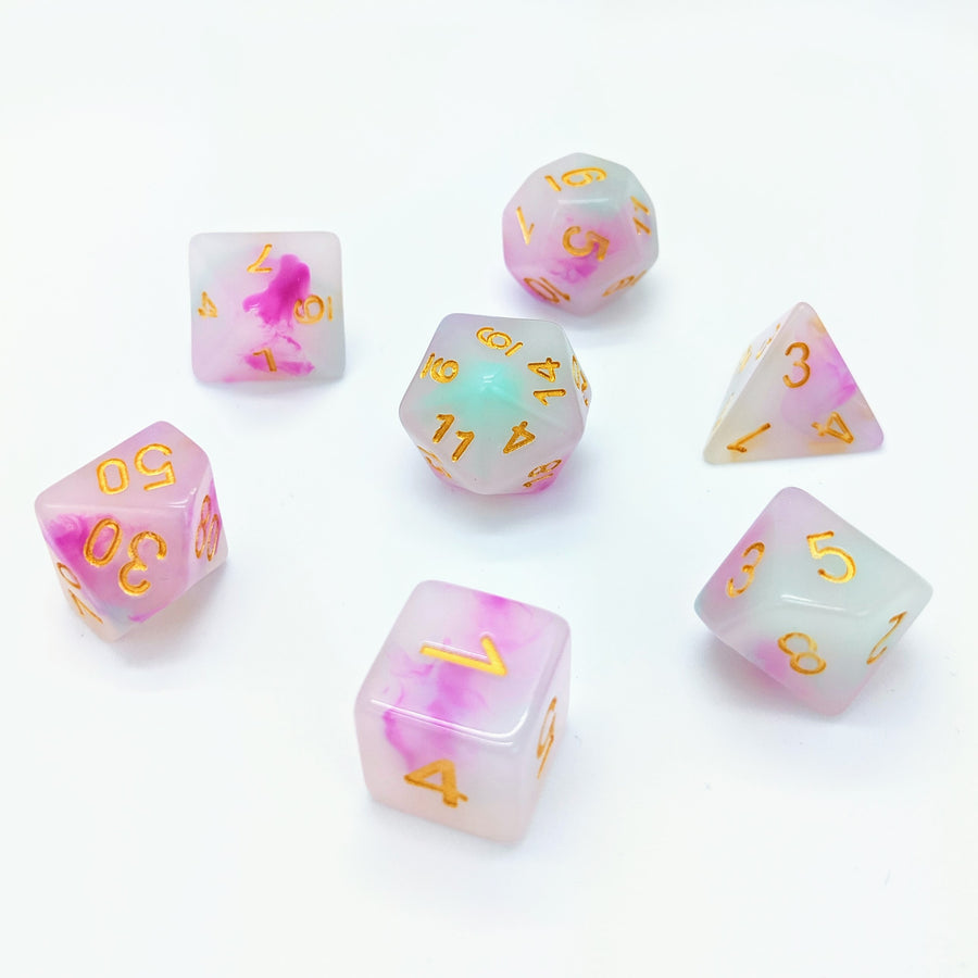 Opal in Pink & Mint | Dice Set
