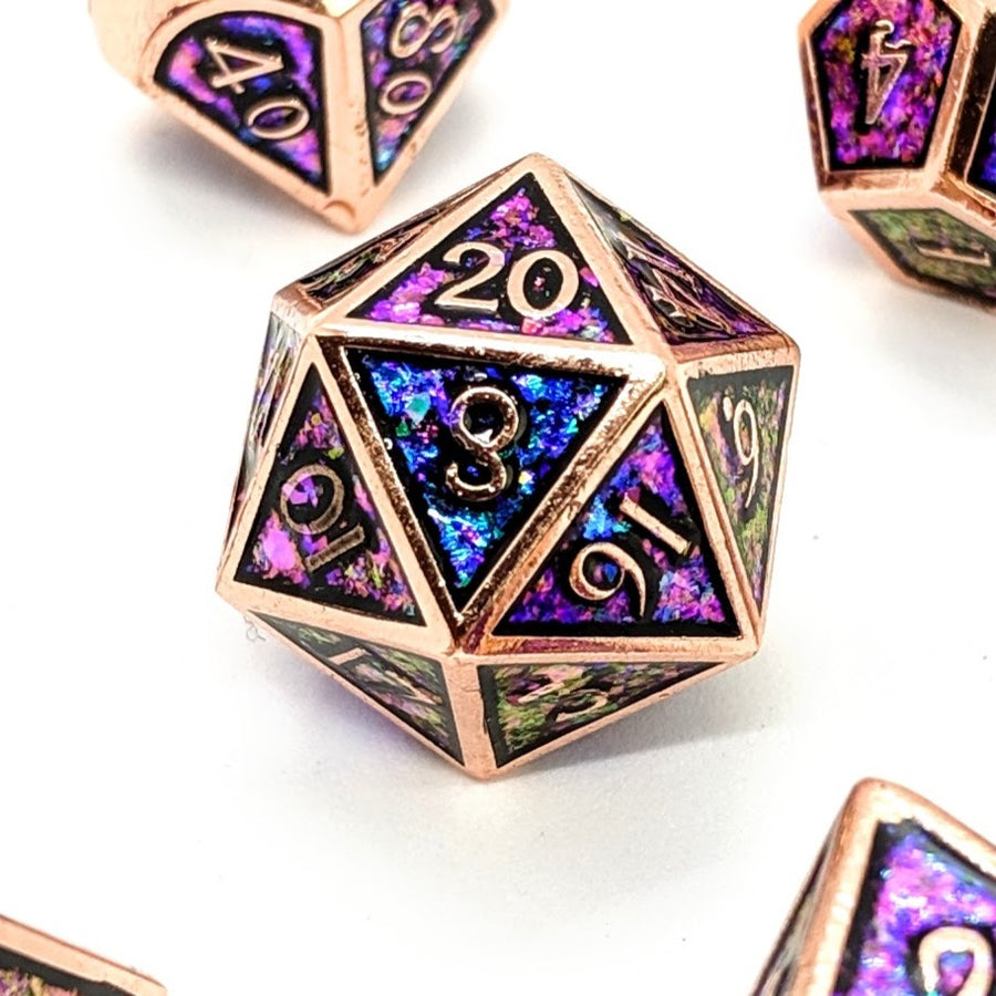 Rainbow Glitter Copper Metal Dice Set