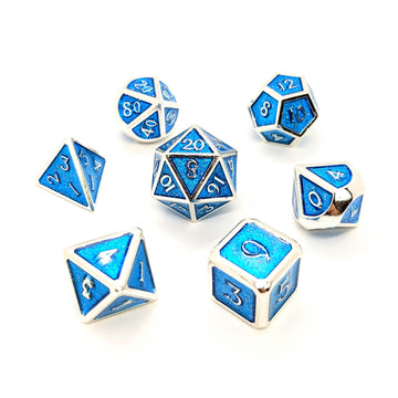 Blue Glitter Silver Metal Dice Set