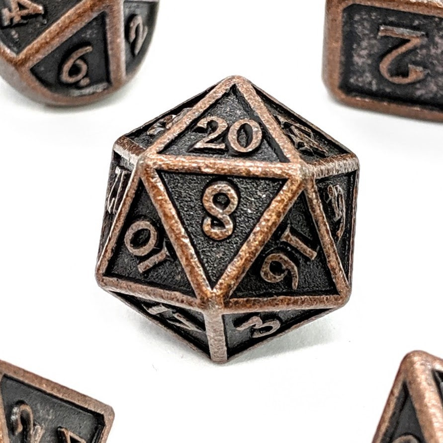 Aged Copper Metal Dice Set