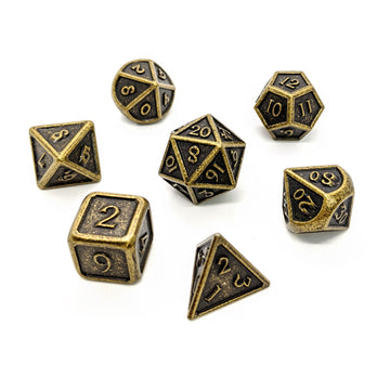 Aged Bronze Metal Dice Set