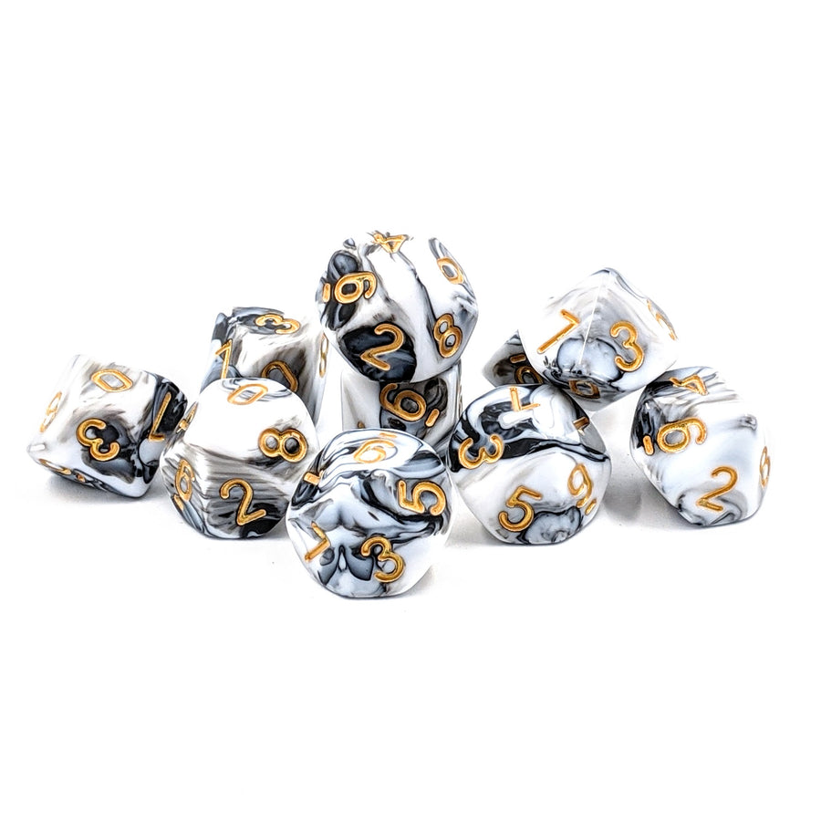 White Marble | D10 Dice Set