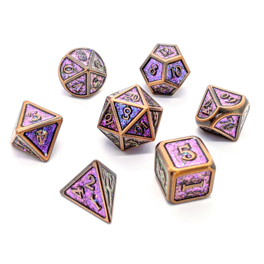 Aged Rainbow Glitter Copper Metal Dice Set