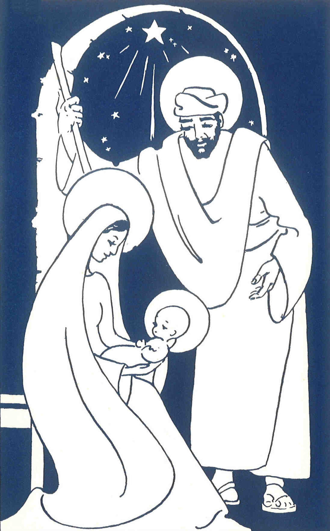 C12 Pack 5 Bilingual Christmas Cards (Holy Family)